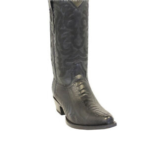 Men's Los Altos Genuine Ostrich Leg Leather Snip Toe Boots Handcrafted