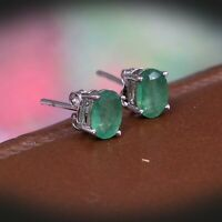 Emerald Stud Minimalist Dainty Earrings Tiny  May Birthstone 925 Sterling Silver
