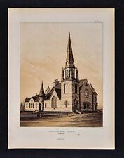 1884 Minnesota Geology Atlas Print - Congregational Church Winona - Limestone