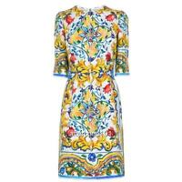 Dolce & Gabbana Majolica Print Dress, UK12  IT44 New Authentic