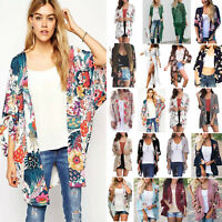 Women Lady Boho Beach Cover Up Lace Floral Cardigan Kimono Chiffon  Blouse