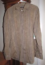 Men's Alfani Striped Embroidered Button Up Beige Shirt Size L - Rtl $49 - NEW