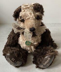 "VINTAGE MOHAIR TEDDY BEAR CHOCOLATE PANDA 14"" HERMANN GERMANY XX CENTURY"