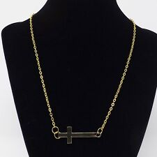 Gold Horizontal Cross Necklace - New