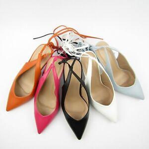 sandali donna lacci  legare tacco spillo 9 celeste neri bianchi arancione punta