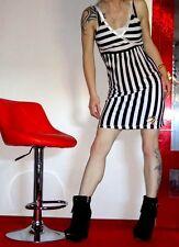 PEPE JEANS Streifen Schwarz Weiß Blogger Kleid Festival Trend Kleid XS 32 34