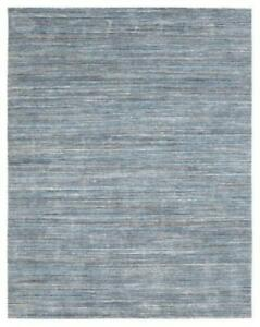 Handmade Blue Indoor/Outdoor Area Rug, Solid Pattern, Thick Pile