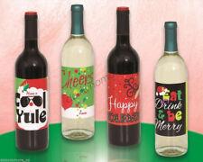 Christmas Merry Xmas Santa Festival Party 4x Wine Spirit Bottle Labels Sticker