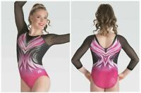 GK Elite Black Mesh 3/4 Sleeve Gymnastics COMPETITIVE LEOTARD Child Adult Sizes