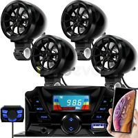Motorcycle Bluetooth Wireless 4 Speaker Audio System Stereo MP3 ATV UTV Scooter