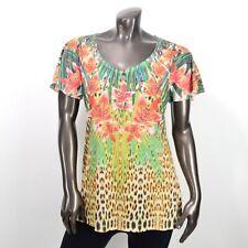 Laura Scott Womens Animal Floral Print Multi Color Blouse Tunic Top Size M