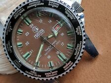 Vintage Mortima World Time Diver Watch w/Pristine Milk Chocolate Dial FOR REPAIR