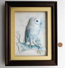 """Barn Owl 3D picture 1990s framed decoupage by Joel Kirk 14"""" x 11"""" bird Tyto Alba"""