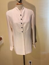 BLOOMINGDALE'S Woman Size 10 -100% Silk Elegant Blouse Ivory w/ Black Buttons