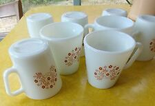 """Vintage Pyrex """"Summer Impressions"""" (Corelle) by Corning  Brown Flowers 8 MUGS"""