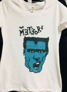 The Meteors Mutant Rock - White LADIES Fit T-Shirt : rockabilly, psychobilly