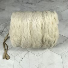 VTG 1950s Child Size Kid Small White Rabbit Fur Hand Muff Cord W/ Plastic Sleeve