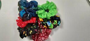 Ponytail Hair Scrunchies, Girls, Women, Happy Birthday, Red, Green, , Pkg. of 6