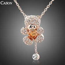 Austrian Crystal Lovely Bear Chain Pendant Fashion 18K Gold Plated Necklace
