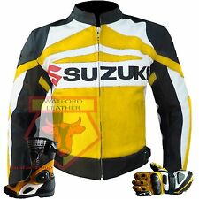 YELLOW GSX SUZUKI MOTORBIKE MOTORCYCLE COWHIDE LEATHER JACKET, BOOTS & GLOVES