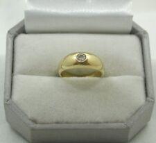 Victoriano pesado de 18 quilates chapado oro solitario diamante anillo