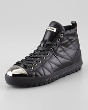 new MIU MIU BLACK QUILTED LEATHER SNEAKERS SHOES FLATS WITH TOE CAP 39.5