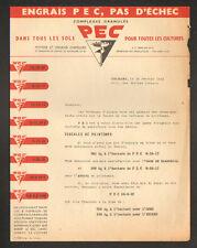 """ORLEANS (45) ENGRAIS pour AGRICULTURES """"PEC / A. CAZAS Ingénieur"""" en 1953"""