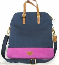 NEW FOSSIL TAYLOR FAB NAVY BLUE,MAGENTA+BROWN CANVAS CROSSBODY,TOTE,HAND BAG