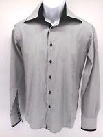 Franco Nero Mens Sz Small 37-38 Slim-fit  Pinstripe Long Sleeve Button Up Shirt