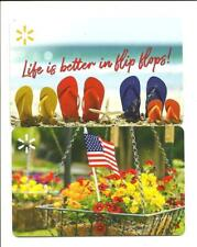 Lot of (2) Walmart Summer Gift Cards No $ Value Collectible USA Flag Flip Flops