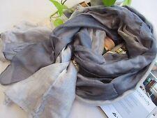 NEW - Grey Gradient Dark Grey Cotton 60%+ Silk 40% Scarf