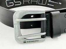 G Star Raw Denim Men's LUCA 100% Leather Belt Size SMALL 75s (85cm) BLACK - NEW