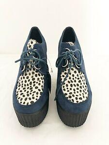 New Ladies Blue Cheetah Lace Up Platform Creeper Wedges UK Sizes
