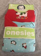 2 Gerber 3-9 Mth Winter Christmas Long Sleeve Onesies Polar Bear Penguin Set