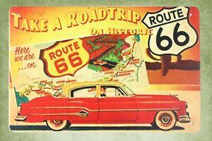 designer interior Historic Route 66 Take a Roadtrip tin metal sign