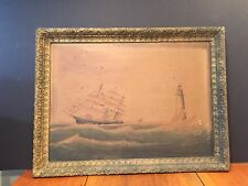 Antique Framed Nautical Sailing Ship Lighthouse Lithograph Print on Canvas