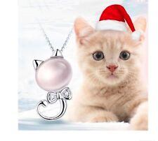 925 Sterling Silver Kitten Stone Crystal Pendant Necklace Women Jewelry