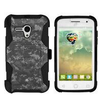 For Alcatel Pop Star 2 LTE A521L Hybrid Armor Clip Case Digital ACU Camo