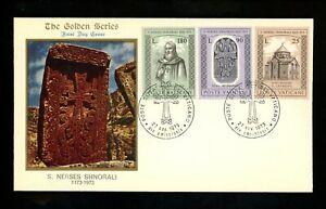 Postal History Vatican City FDC #545-547 Armenia Patriarch St. Nerses 1973