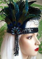 Vintage Inspired 1920's  FEATHER Flapper Headband Headpiece  SWAROVSKI PEACOCK
