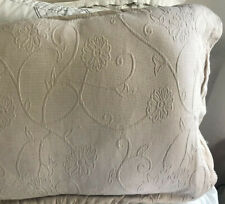 Cream King Pillow Shams Lot Set 2 Tan Beige Matelasse Embroidered Quilted bw