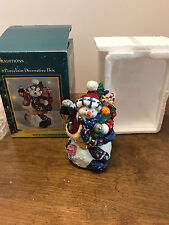 Traditions Porcelain Hinged Keepsake Decorative Box Christmas Snowman Toys Light
