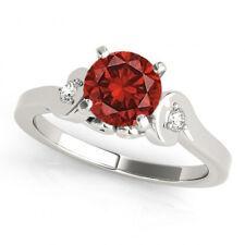 Red Color Enhanced Diamond 3 Stone Ring 14K WG for Women Valentineday Spl.Sale