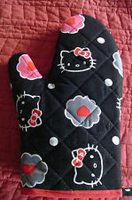 Hello Kitty Grill & Oven Mitt, Handmade, Black & Pink, Quilted,Lined,100% Cotton