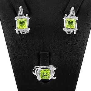 Natural Gemstone Green Peridot 925 Sterling Silver Ring Earring Jewelry Set