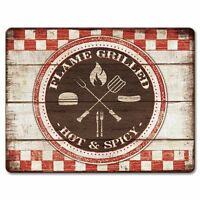 "Cutting Board--Backyard Barbecue--Small Cutting Board 8"" X 10"" Tempered Glass"