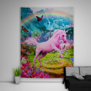 Pink Unicorn Tapestry Art Wall Hanging Sofa Table Bed Cover Poster