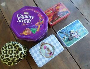 5 boîtes en fer panthère+Martine vintage Marmottes Quality street Mère Poulard