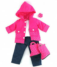 "6 pc RAIN COAT,PANTS, SHIRT, BOOTS, UMBRELLA   FITS AMERICAN GIRL & 18"" DOLL"