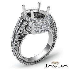 Oval Semi Mount Diamond Engagement Halo Prong Eternity 2.5Ct Ring 18k White Gold
